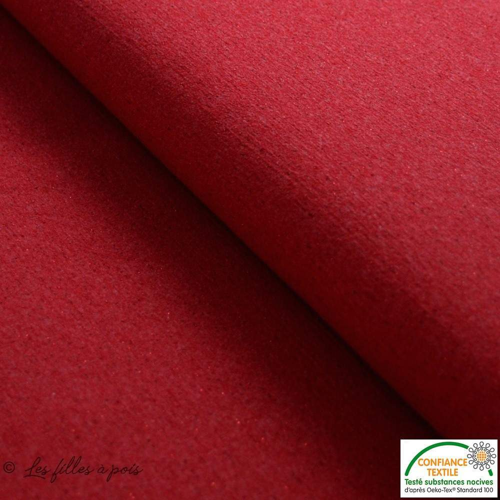 Tissu french terry coton - Rouge et Lurex - Oeko-Tex ®