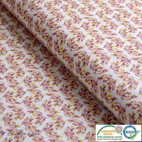 Tissu coton motif fleur - Bleu, ocre et blanc - Oeko-Tex ®