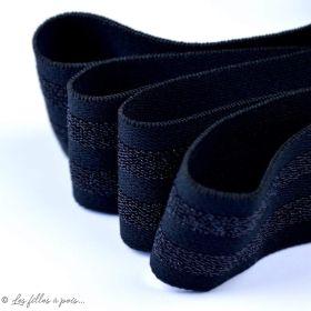 Elastique plat noir et lurex - 38mm