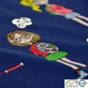 Coupon tissu jersey coton motif fillettes et cerise - 80cm Autres marques - 16