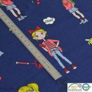 Coupon tissu jersey coton motif fillettes et cerise - 80cm Autres marques - 21