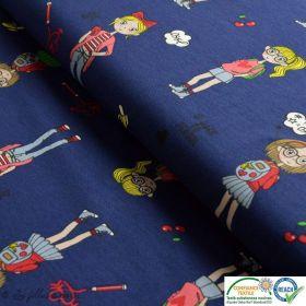 Tissu jersey coton motif fillettes et cerise