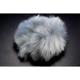 Pompon fourrure synthétique gris perle 60mm