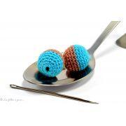 Perle crochetée - Crochetée à la main - Bicolore blanc et bleu