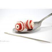 Perle crochetée - Crochetée à la main - Chiné