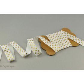 Biais élastique pré-plié motif étoile - Doré - 16mm