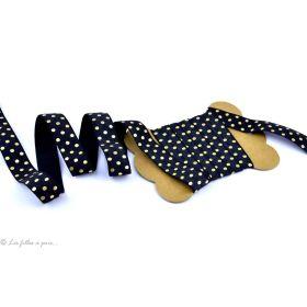 Biais élastique pré-plié motif pois doré - 16mm