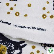 Tissu french terry coton motif lion - Ecru, noir et doré - Bio
