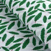 Tissu viscose feuilles - Blanc et vert