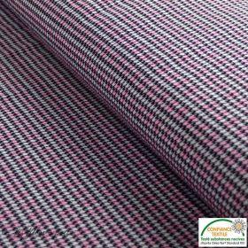 Tissu jacquard motif pied de poule - Noir et rose - Oeko-Tex ® Autres marques - 1