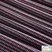 Tissu jacquard motif pied de poule - Noir et rose - Oeko-Tex ®