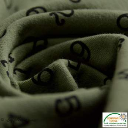 Tissu french terry coton motif chiffres esprit matrix - Oeko-Tex ®