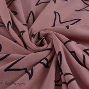 Tissu french terry coton motif étoile - Oeko-Tex ®