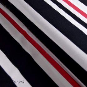 Tissu jersey coton motif rayures - Noir, rouge et blanc