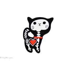 Écusson petit chat squelette - Noir et blanc - Thermocollant