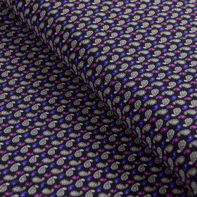 Tissu jersey motif pailsey - Noir et violet
