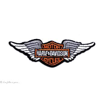 Écusson petit Harley Davidson ailé - Noir et orange - Thermocollant - 1