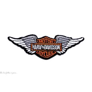Écusson petit Harley Davidson ailé - Noir et orange - Thermocollant