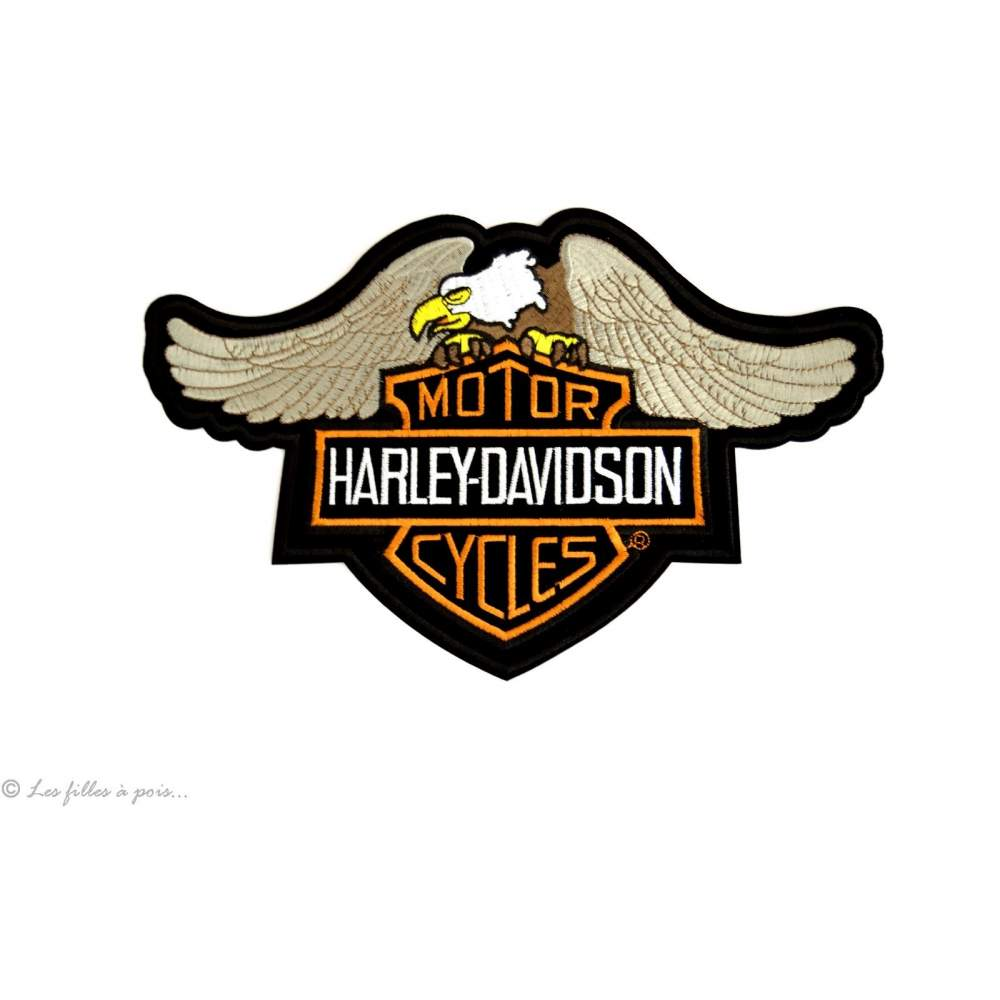 Écusson grand Harley Davidson aigle royal - Noir et orange - Thermocollant