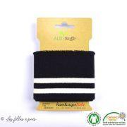Bord côte motif rayure College - Noir et blanc - ALB Stoffe ® - Hamburger Liebe ® - Bio
