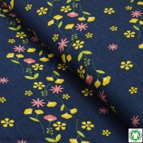 Tissu jersey viscose fleurs Blumenkind - Bleu marine, ocre et corail - Lillestoff ®