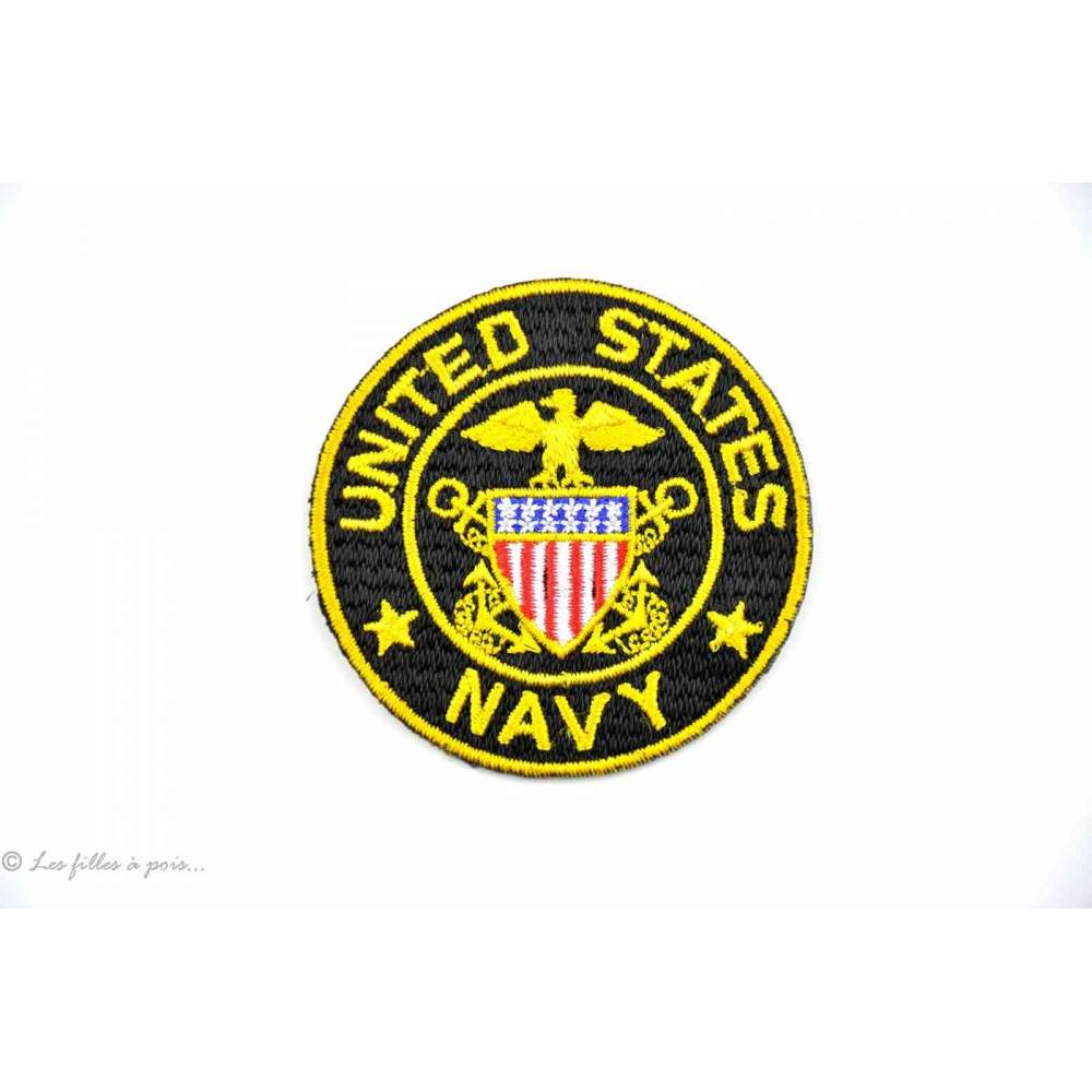 Écusson US NAVY - Jaune et noir - Thermocollant