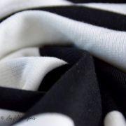 Tissu jersey di milano coton motif rayure - Noir et blanc Autres marques - 6