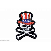 Ecusson tête de mort avec un chapeau américain - Blanc - Thermocollant