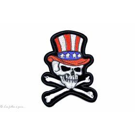 Ecusson tête de mort avec un chapeau américain - Blanc - Thermocollant - 1