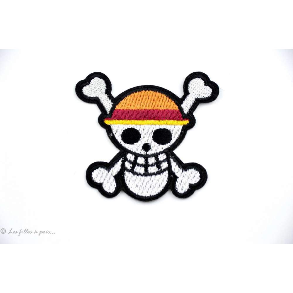 Ecusson tête de mort Luffy - Blanc - Thermocollant