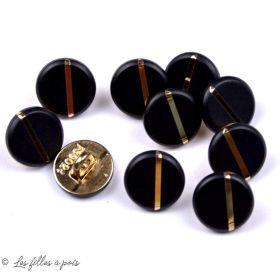 Bouton à queue noir mat liseré doré métal - Rond - Doré - 11mm