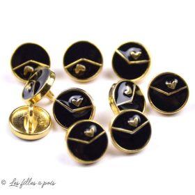 Bouton à queue noir gravé coeur métal - Rond - Doré - 10mm