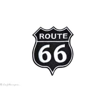Ecusson route 66 - Noir - Thermocollant