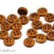 Boutons rond en bois - 11mm - Naturel - Lot de 20