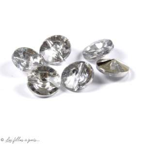 Bouton perle aspect diamant résine - Transparent - 11mm - Lot de 10