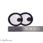 """Écusson yeux """"Homer"""" - Blanc et noir - Thermocollant - 2"""