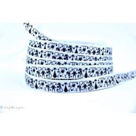 Ruban gros grain - Blanc et noir motif chat - 9mm