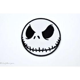 Écusson tête de Jack Skellington - Blanc et noir - Thermocollant