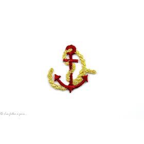 Écusson petite ancre de marine - Rouge et doré - Thermocollant - 1
