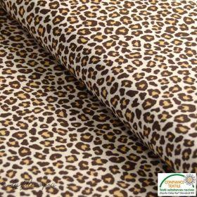 Tissu popeline motif léopard - Marron et beige - Oeko-Tex ® - Stenzo Textiles ®