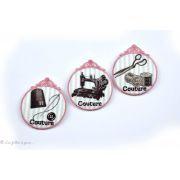 Écusson vintage couture dé aiguille et bouton - Rose et gris - Thermocollant - 2