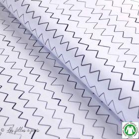 Tissu jersey coton Zick Zack motif zig zag - Blanc et noir - Bio - Lillestoff ®