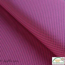Tissu jersey motif pois - rose et noir - Oeko-Tex ® - Stenzo Textiles ®