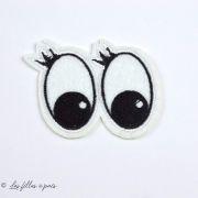 """Écusson yeux """"Minnie Mouse"""" - Blanc et noir - Thermocollant"""