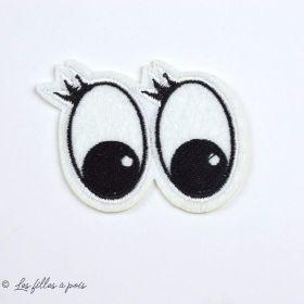 """Écusson yeux """"Minnie Mouse"""" - Blanc et noir - Thermocollant - 1"""