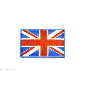 Écusson petit drapeau Royaume uni - Bleu et rouge - Thermocollant - 1