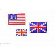 Écusson petit drapeau Royaume uni - Bleu et rouge - Thermocollant - 2