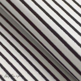 Tissu jersey viscose motif rayure noire et lurex argenté - Blanc et noir