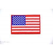 Écusson drapeau américain - Rouge et bleu - Thermocollant - 1