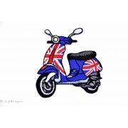 Écusson scooter Vespa anglais - Bleu et rouge - Thermocollant